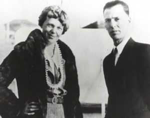 Amelia Earhart and her mechanic Ernie Tissot, 1935 at Wheeler Field, Oahu.